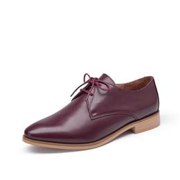 Derby Shoes Women Genuine Leather Fashion Lace-Up Office Ladies Flats