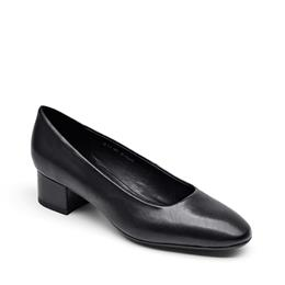 Women Slip-On Career Office Lady Shoes Genuine Leather Black Color Med Heel Shoes