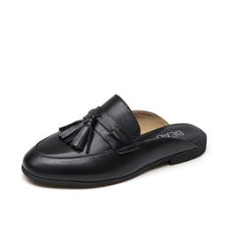 Mules Shoes Women Genuine Leather Round Toe New Fashion Open Back