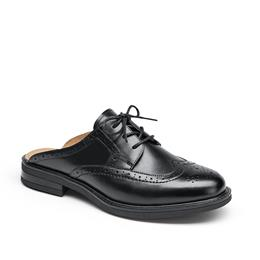 Mules Women Genuine Leather Lace Up Backless Round Toe Ladies Shoes