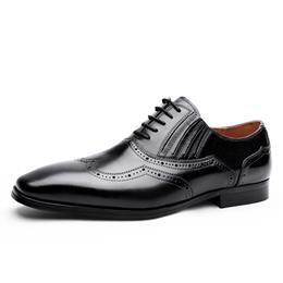 British Men Business Dress Shoes Mens Brogue Lace up Wedding Shoes