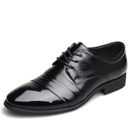Men Dress Shoes Fashion Lace-Up Flat Male Oxford Shoes Party Office Business Wedding Shoes