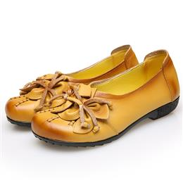 Retro Genuine Leather Flower Women Shoes  Breathable Soft Slip-on Casual Flat Shoes