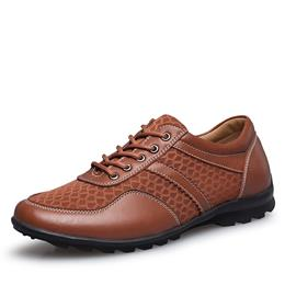 Italian Designers Men Leather Shoes Luxury Brand Mesh Men's Flats Shoes