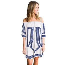100% Cotton Beach Dress Sexy Swimwear Cover-Up Vibe Geometric Print Beachwear