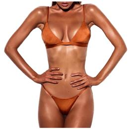 Summer Beach Wear Sling Swimsuit Swimwear For Women Sexy Female Orange Pink Thong Bikinis Set