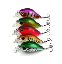 5PC 5.5cm 8g Hard Plastic Crank Baits 3D Fish Eye Minnow Fishing Lures