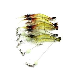 3pcs Luminous Simulation Prawn Soft Shrimp Fishing Lure Floating Shaped Worn Fake Lure