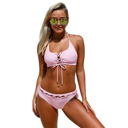 2018 New Bandage Bikinis Lace Up Halter Bralette Swimwear Bathing Suit