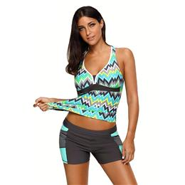 2018 New Plus Size Swimwear Green Tone Multicolor Two Pieces Tankini Set