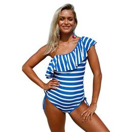 Stripes Ruffle One Piece Swimsuit One Shoulder Off Bodysuits