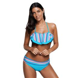 Sexy Swimwear Rainbow Striped Ruffle Trim Biquini Swimsuit