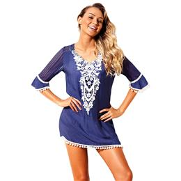 Sexy Beach Tunic Pom Pom Tassel Hem Gauze Cover Up Mini Dress