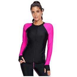 One Piece Swimsuit For Diving 2019 Rosy Long Sleeve Zip Down Rashguard