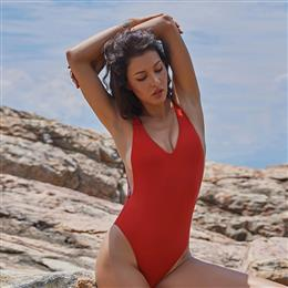 Simple Solid Swimwear Women Sexy Deep-V One Piece Swimsuit Plus Size Swimwear