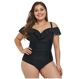 Plus Size 3XL Hot Large Women Black Ruched Ruffle Push Up One Piece Swimsuit