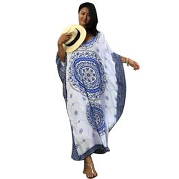 2018 New Sexy Beachwear Robe De Plage 100% Cotton Blue Print Kaftan Bathing Suit Cover Up