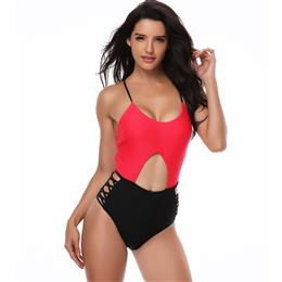 2018 One Piece Swimsuit Patchwork Swimwear Women Bodysuit