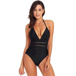Sexy Black Mesh Striped Detail One Pieces Swimsuit Women Halter Teddy Sw...