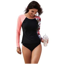 Swimwear Shirts Beach Asymmetric Raglan Long Sleeve Black Rashguard Top
