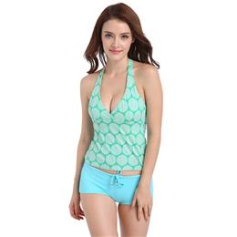 Korean Style Split Swimwear Tankini Plus Size Two Piece Swimsuit With Shorts