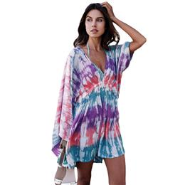 Sexy swimwear Multicolor Tie Dye Print Hawaii beach Cover Up dress