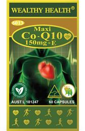 Wealthy Health Maxi CoQ10 150mg + E 60 Capsules MAXIQ1060