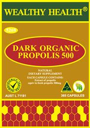 Wealthy Health Dark Organic Propolis 500mg 365 Capsules PP365G