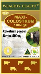 Wealthy Health Maxi-Colostrum 100-lgG 120 Chewable Tablets CLMAX120