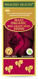 Wealthy Health Maxi Organic Red Grape Seed 30000mg 90 Capsules
