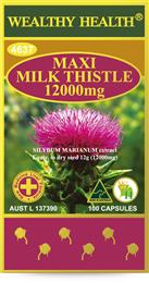 Wealthy Health Maxi Milk-Thistle 12000mg 100 Capsules MTMAXI100