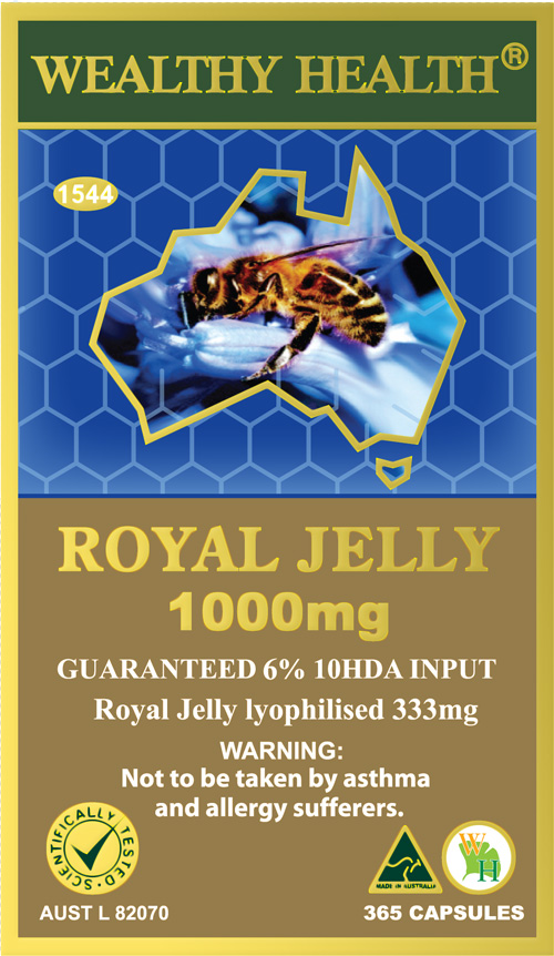 Wealthy Health Royal Jelly 1000mg 365 Capsules RJ365N2B