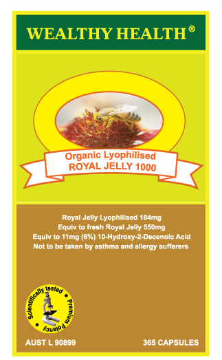Wealthy Health Organic Lyophilised Royal Jelly 1000mg 365 Capsules RJ365...