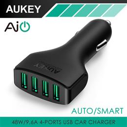 Aukey 4 Ports 48W/9.6A USB Car Charger Adapter with AIPower Tech Universal
