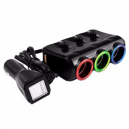 Dual USB 3 Sockets Way Car Cigarette Lighter Splitter Power Adapter 5V 3.1A