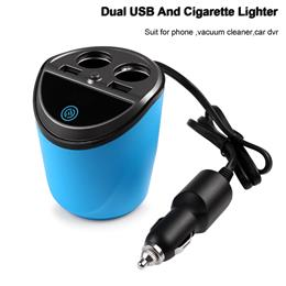 12V-24V Dual USB Car Charger And 2 Way Cigarette Lighter 3.1A Cup Holder Adapter