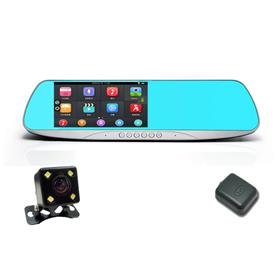 5 inch Android Touch Rearview Mirror Car DVR Parking Dual Lens Car Recorder