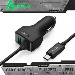 AUKEY Universal 27W/5.4A Type C 2 Ports Smart Turbo USB Car Charger With AIPower Tech