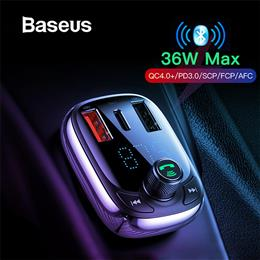 Baseus Quick Charge 4.0 Car Charger FM Transmitter MP3 Player Bluetooth Car Kit