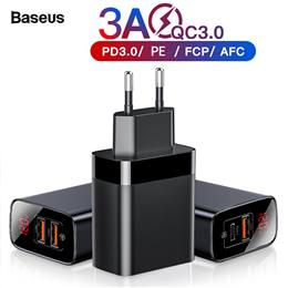 Baseus Quick Charge 3.0 Dual USB Charger For iPhone