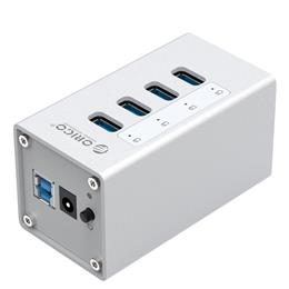 High Quality Powerd 4 Port Aluminum USB 3.0 HUB For Laptop - Silver