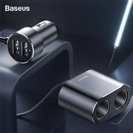 Baseus Car Splitter Cigarette Lighter 12V-24V Dual USB Car Charger Socket