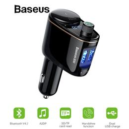 Baseus Car MP3 Player Bluetooth FM Transmitter Handsfree Calling 5V 3.4A Dual USB Car Charger S-06