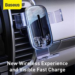 Baseus 15W  Car Charger Fast Wireless Charging Air Vent Car Phone Holder