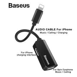 Baseus Cable Splitter Adapter Data transmit for iPhone X 8 7 Earphone Cable Adapter