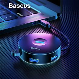 Baseus Multi USB 3.0 / Type C HUB to USB3.0 + 3 USB2.0 Round Box HUB Adapter