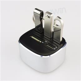 Metal Combo Memory Card Reader Multi 7 in 1 SD/TF/MS/M2 3 USB 2.0 Ports Aluminium Alloy Flash Card Adapters