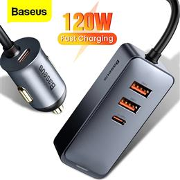 Baseus 4 Port 120W USB Car Charger Quick Charge PPS Fast Charging  PD 20...