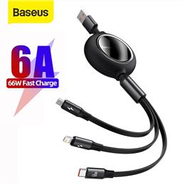 Baseus 3 in1 USB Cable 66W Supercharge 6A Fast Charging Micro Type C USB...
