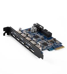 PVU3-5O2I With VLI Chipset Desktop 5 Port USB3.0 PCI Express Card - Black